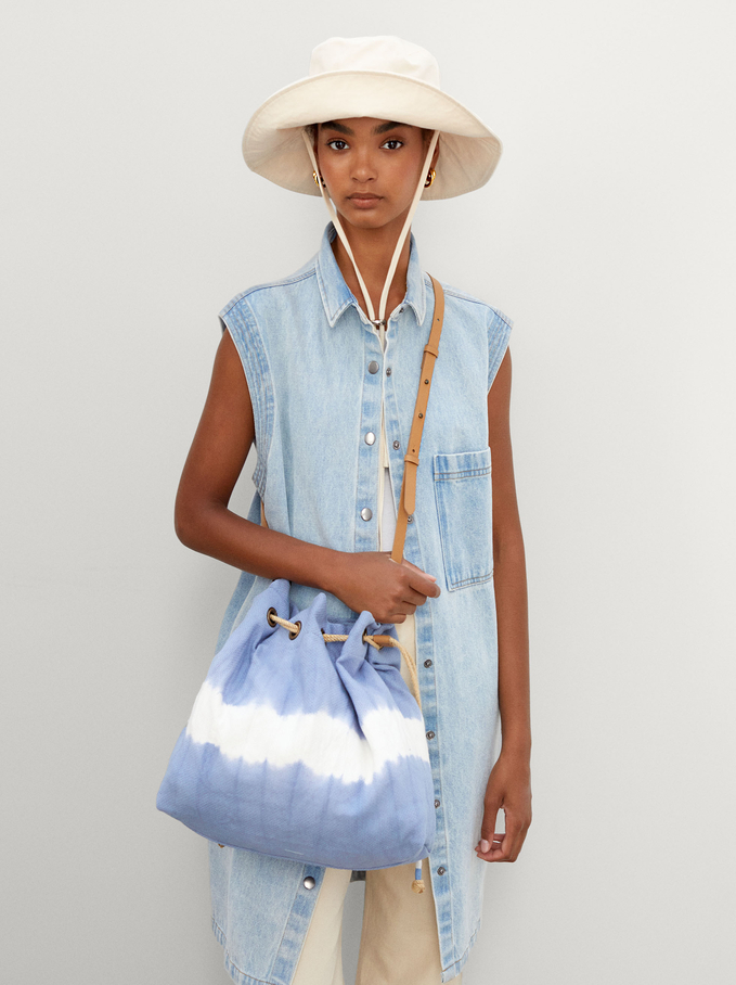 Bolso Bombonera Tie-Dye Con Bandolera Extraíble, Azul, hi-res