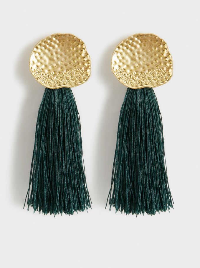 Hindi Dangle Earrings With Fringing, Green, hi-res