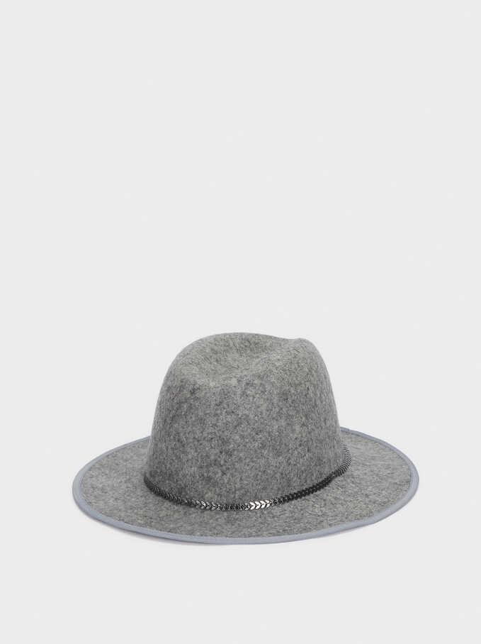 Sombrero De Lana Cinta Combinada, Gris, hi-res