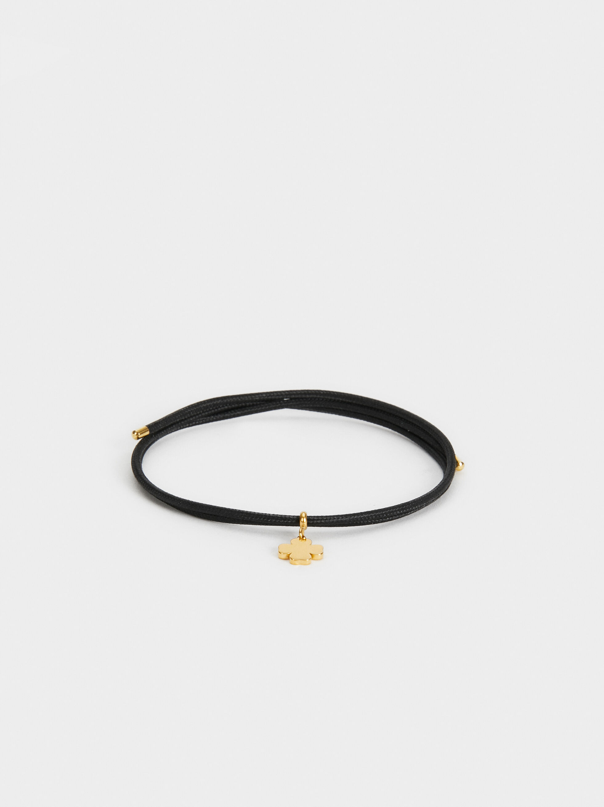Steel Four-Leaf Clover Bracelet, Black, hi-res