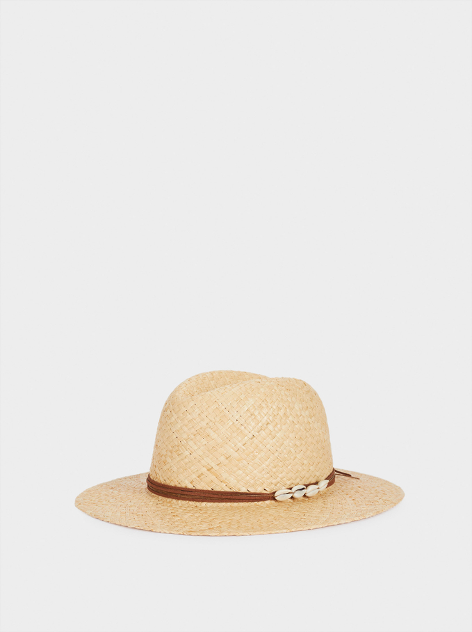 Braided Hat With Shell, Ecru, hi-res
