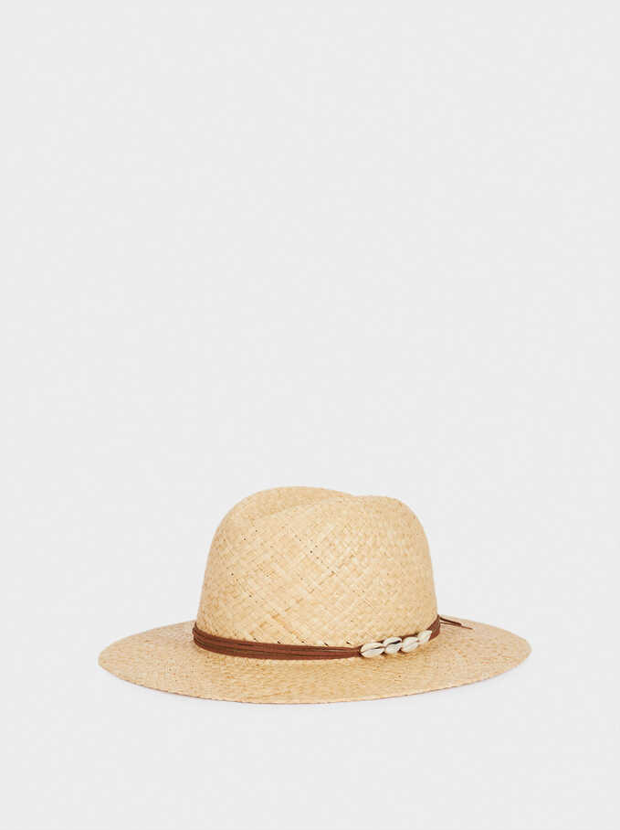 Sombrero Trenzado Con Cinta A Contraste, Crudo, hi-res