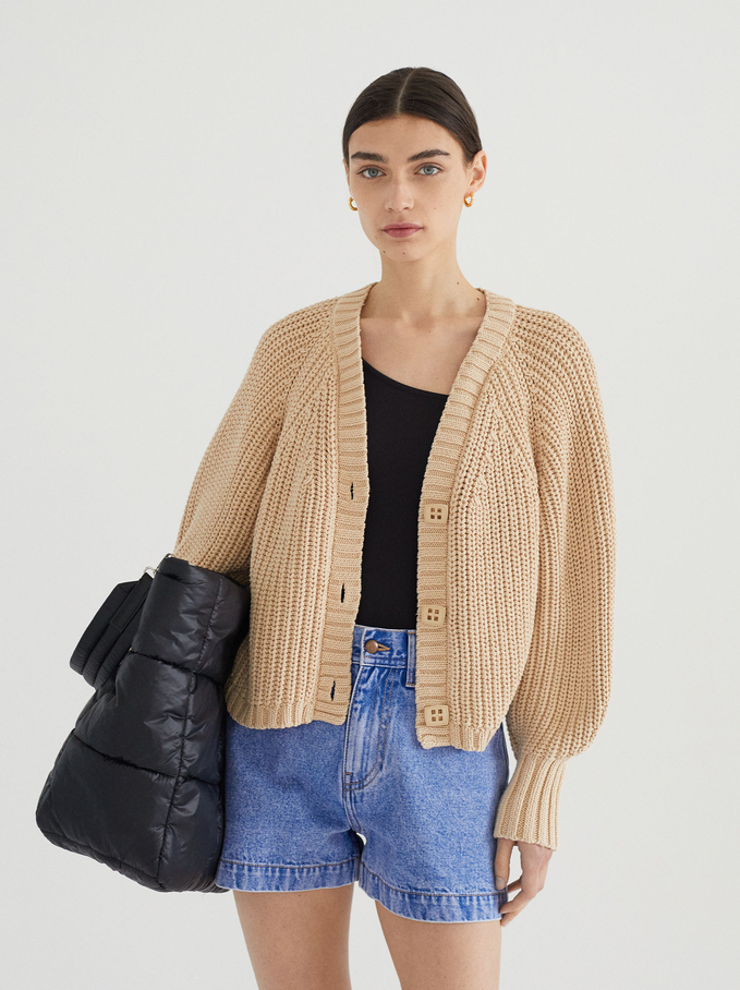Knitted Cardigan With Buttons, Beige, hi-res
