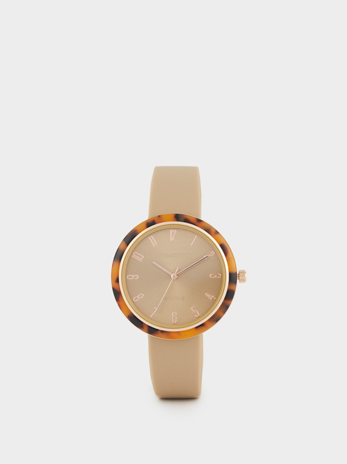 Watch With Tortoiseshell Bezel, Beige, hi-res