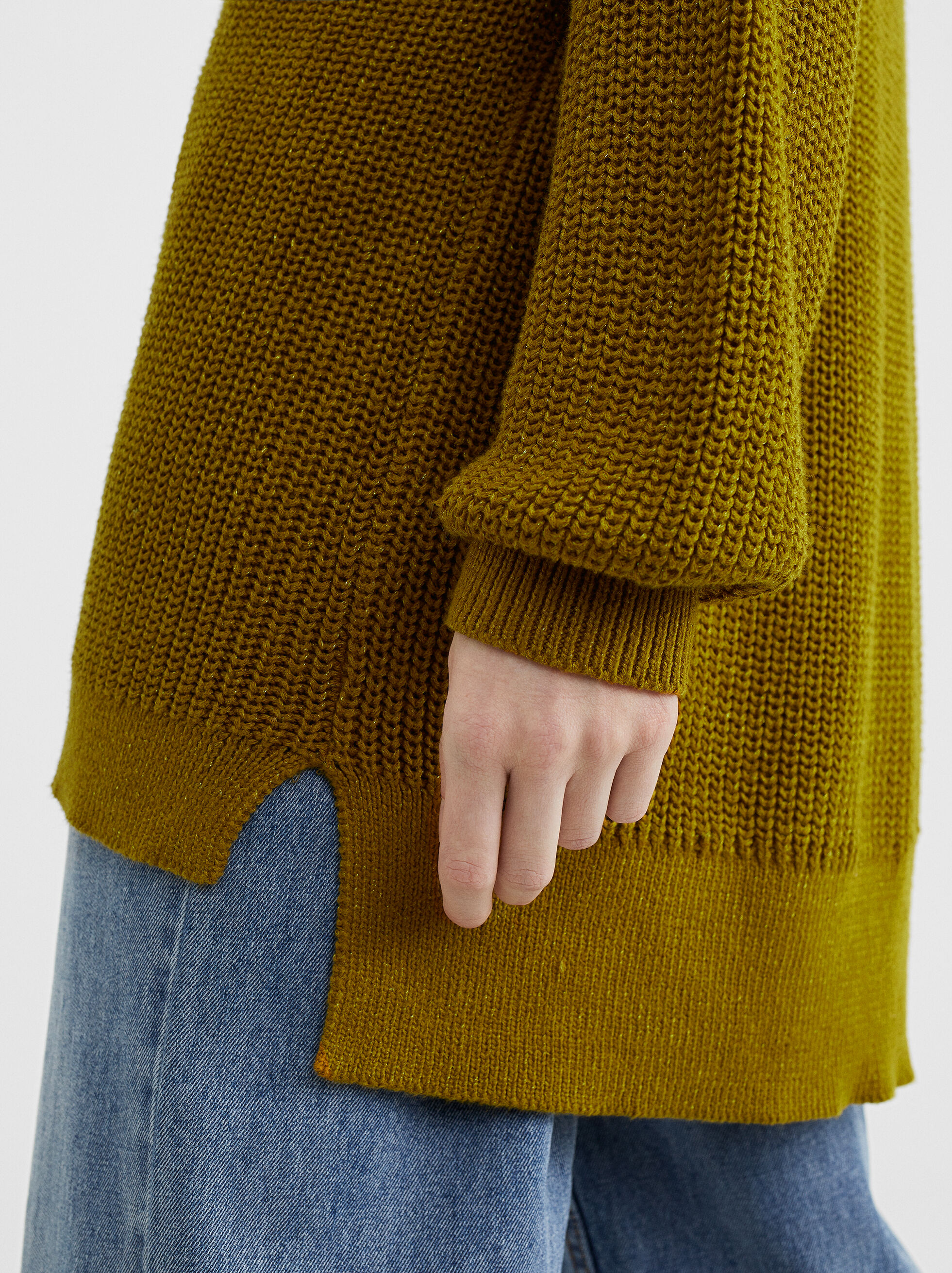Knit Sweater, Khaki, hi-res