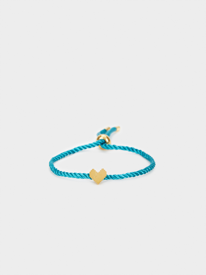 Bracelet Réglable Cordon Cœur, Gris, hi-res