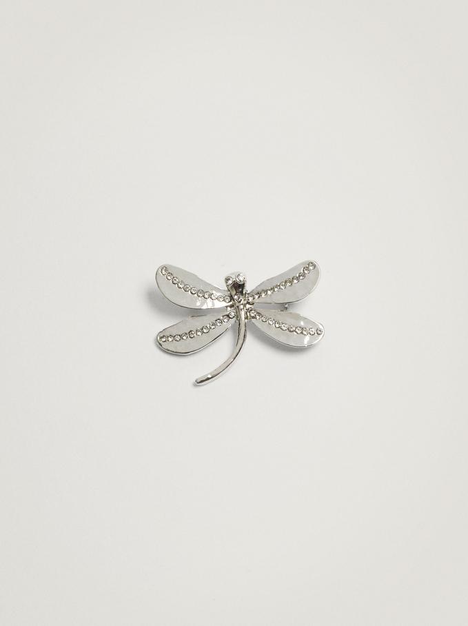 Dragonfly Brooch, Silver, hi-res