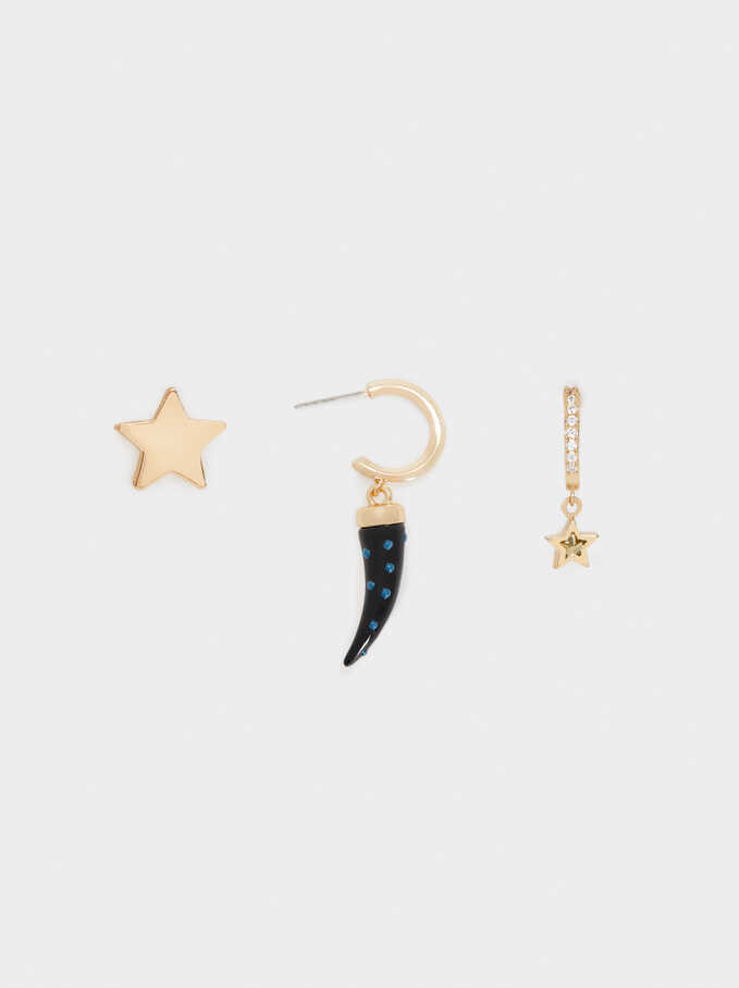 Multicoloured Medium Hoop Earrings With Horn And Star Details, Multicolor, hi-res