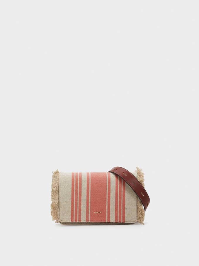 Crossbody Bag With Fringing, Orange, hi-res