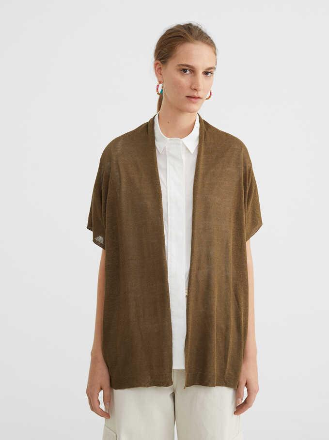 Contrast Knitted Kimono, Khaki, hi-res