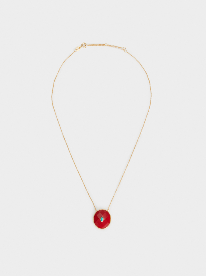 Short 925 Silver Necklace With Stone, Coral, hi-res