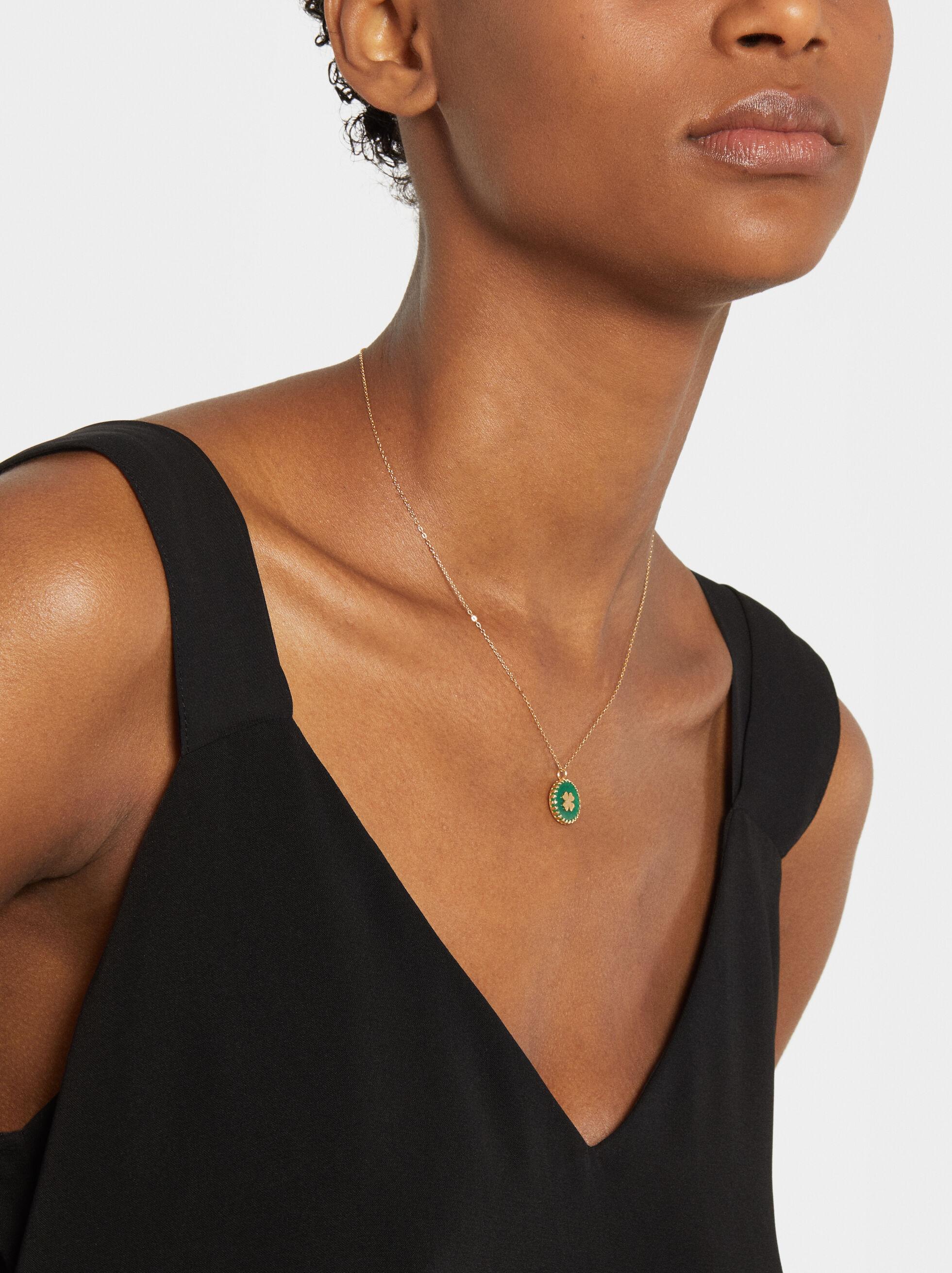 Short Silver 925 Shamrock Necklace, , hi-res