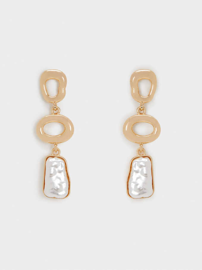 Earrings With Stone, Golden, hi-res