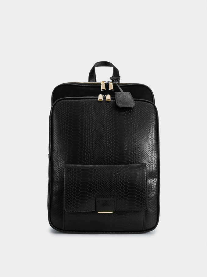 Embossed Faux Leather Backpack, Black, hi-res