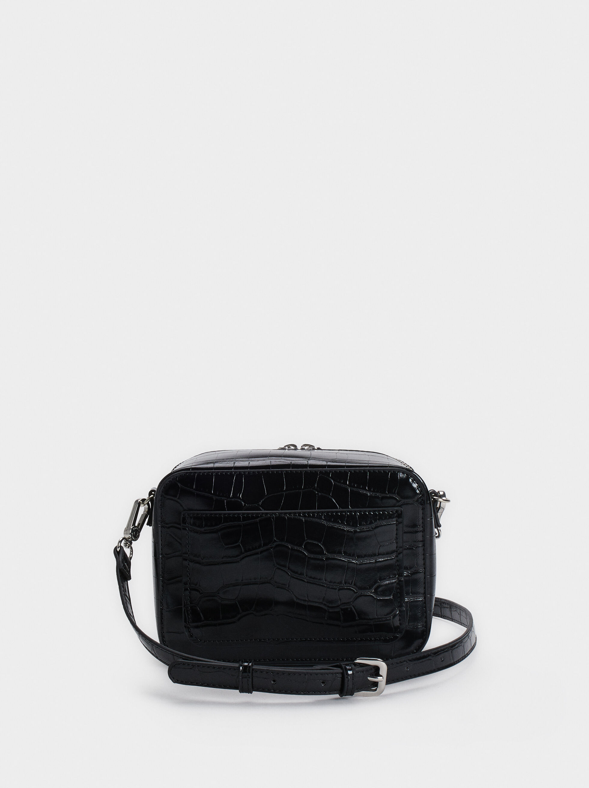Embossed Mock Croc Crossbody Bag, Black, hi-res