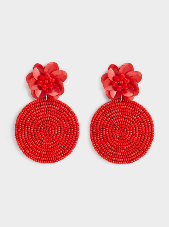Red Floral Long Earrings, , hi-res
