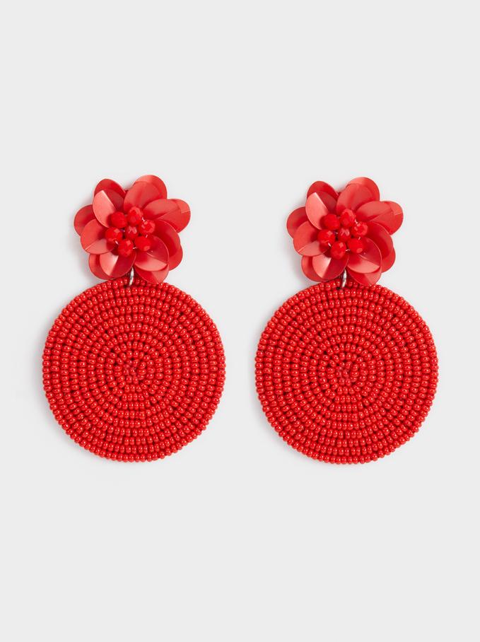 Red Floral Long Earrings, Red, hi-res