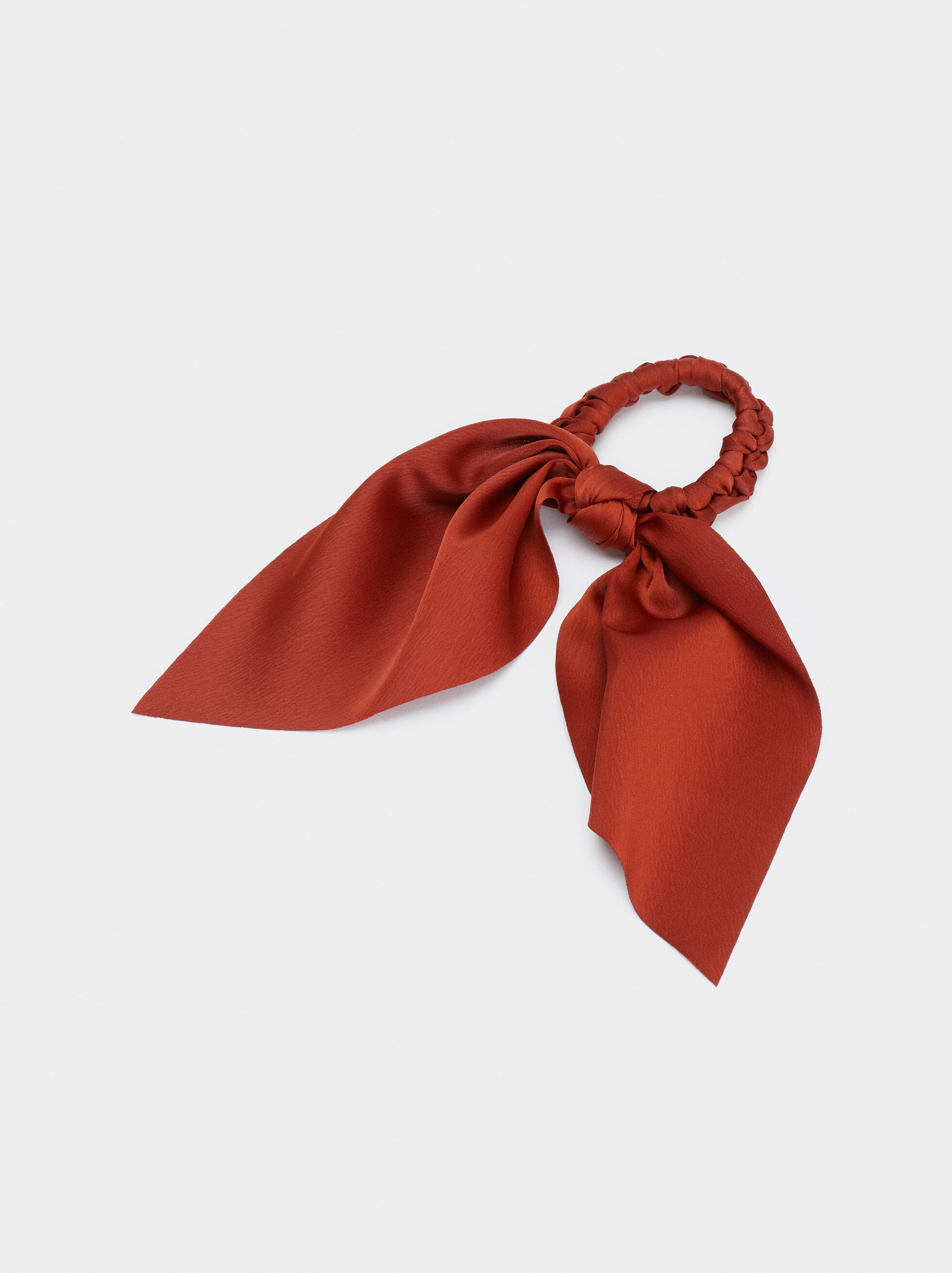 Bow Scrunchie, Brick Red, hi-res