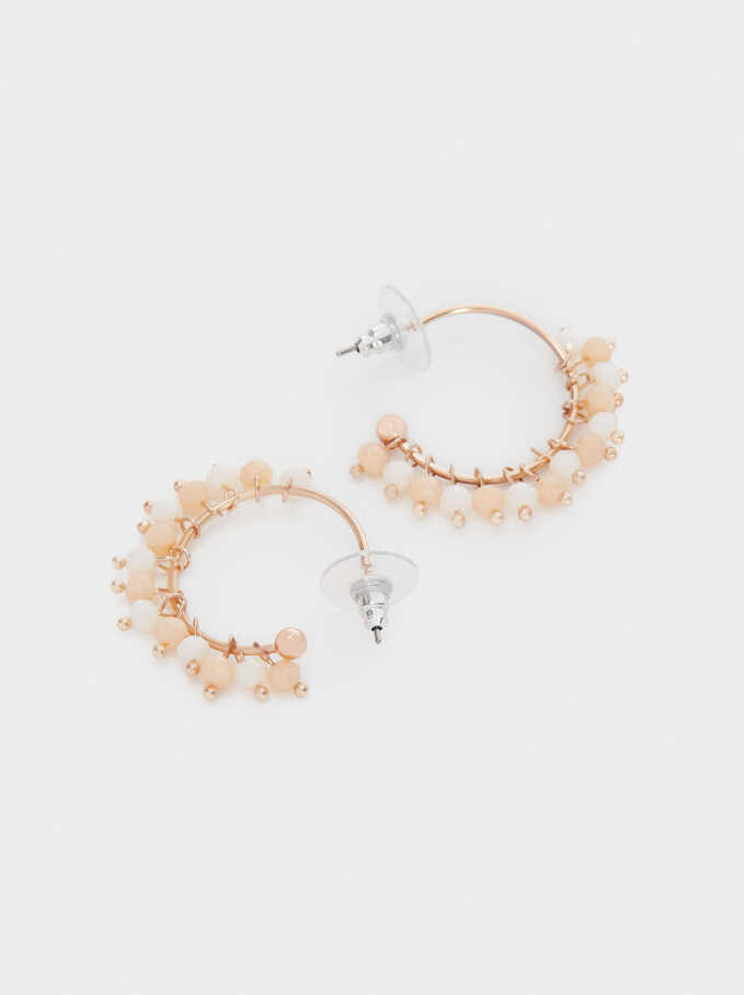 Small Hoop Earrings With Beads, Orange, hi-res