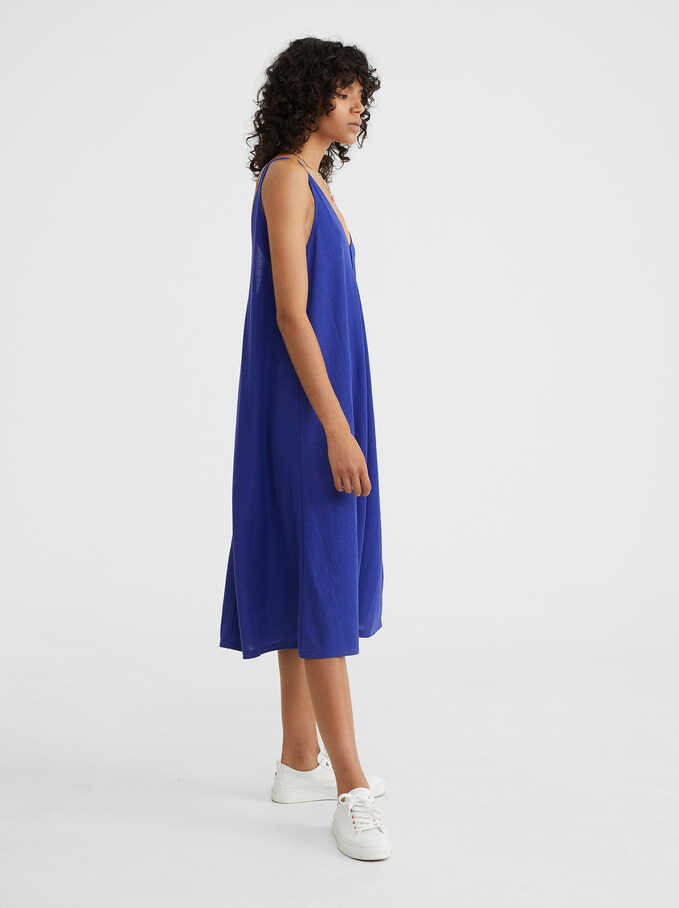 Flowing V-Neck Dress , Blue, hi-res