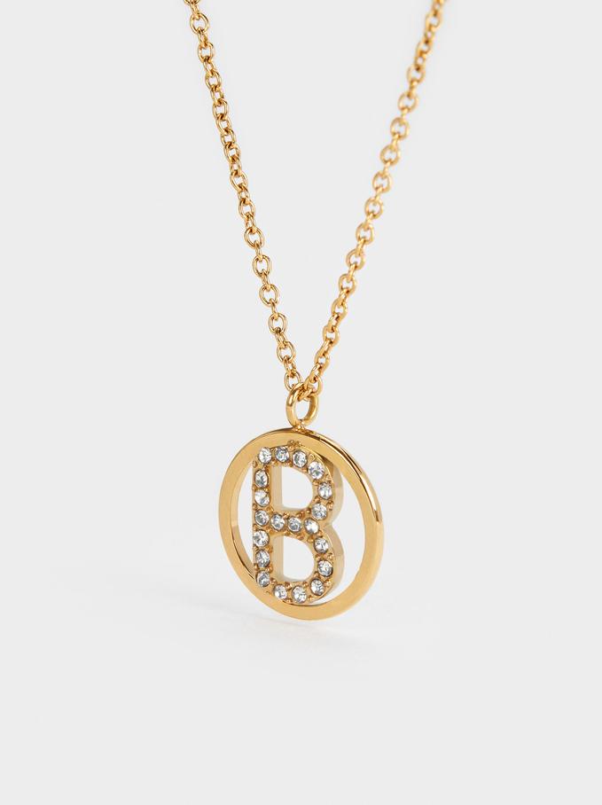 Collar Corto De Acero Con Inicial Letra B, Dorado, hi-res