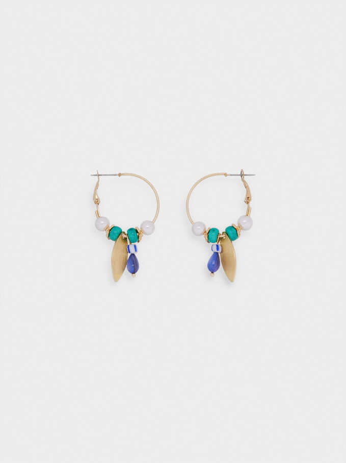 Hoop Earrings With Pendants And Beads, Blue, hi-res