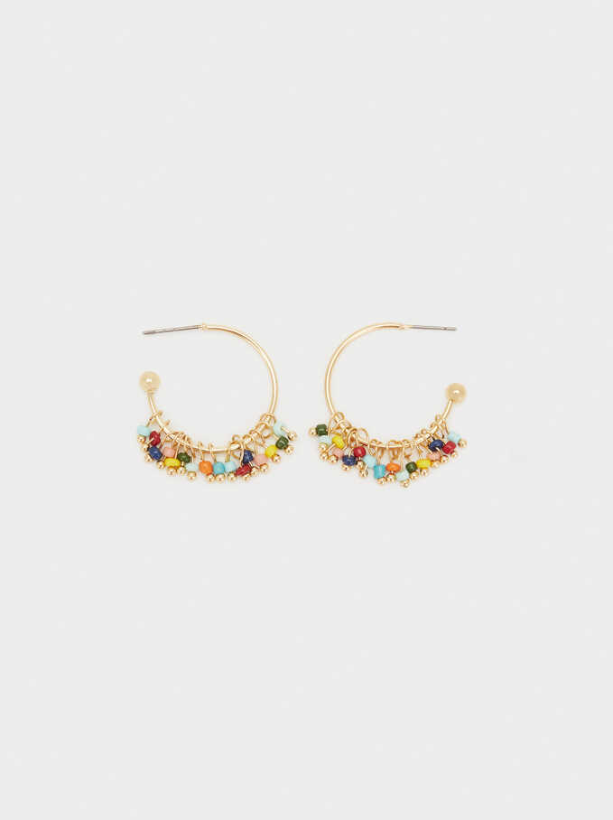 Cherry Blossom Small Hoop Earrings, Multicolor, hi-res
