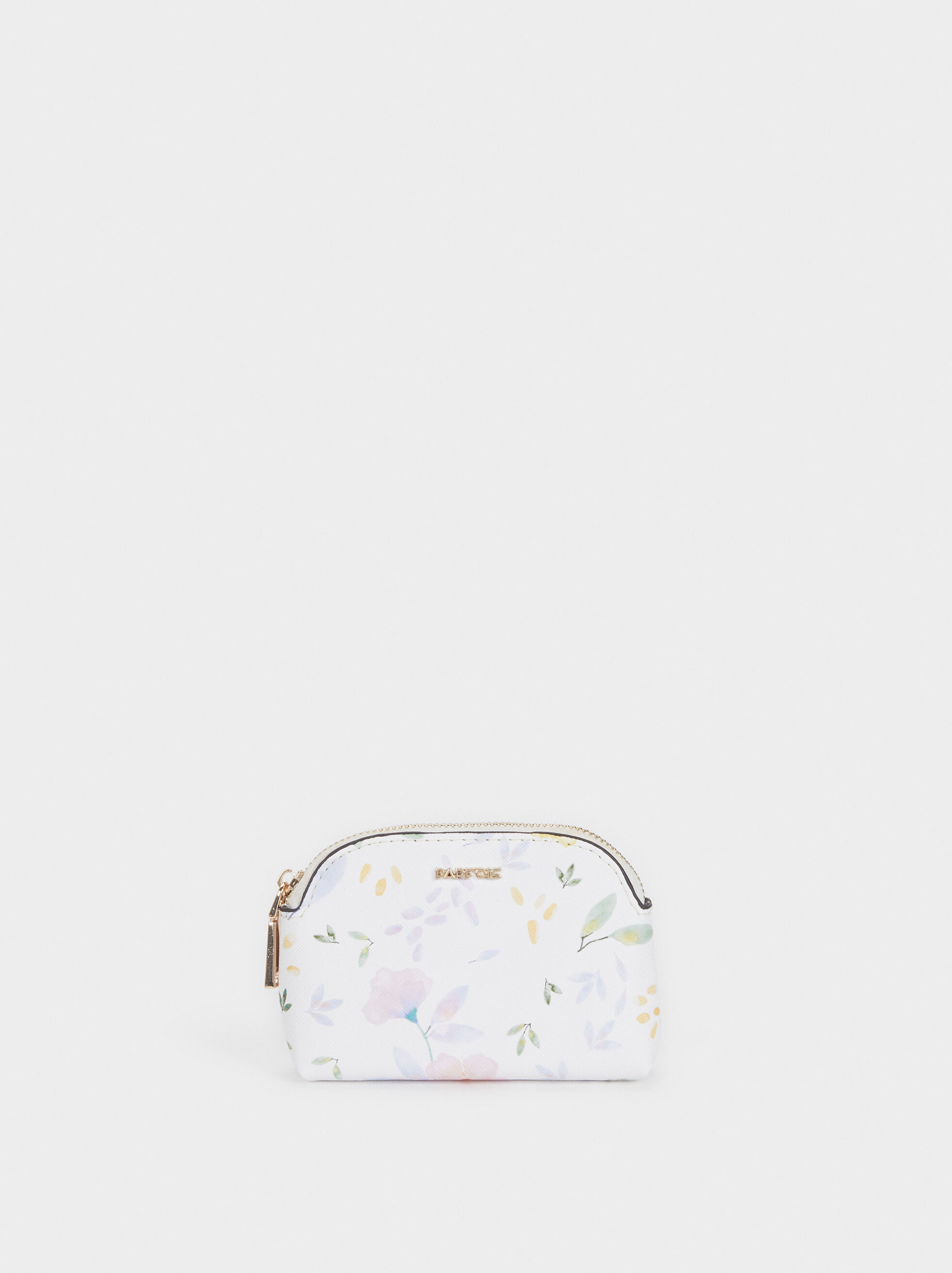 Floral Print Coin Purse, White, hi-res