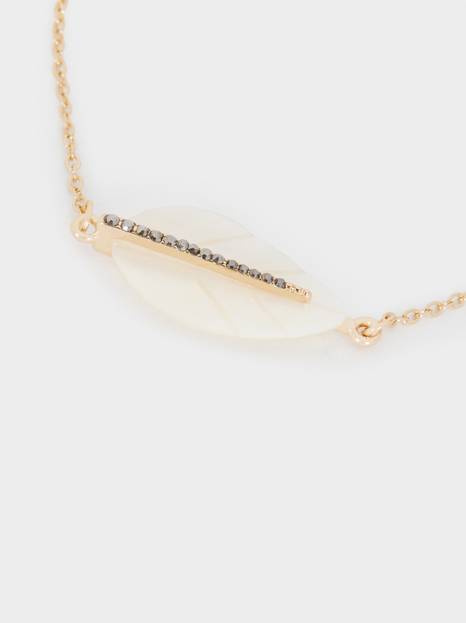 Adjustable Leaf Bracelet With Crystals, Golden, hi-res