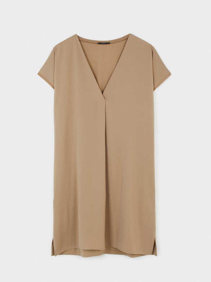 Oversize V-Neck Dress, Beige, hi-res