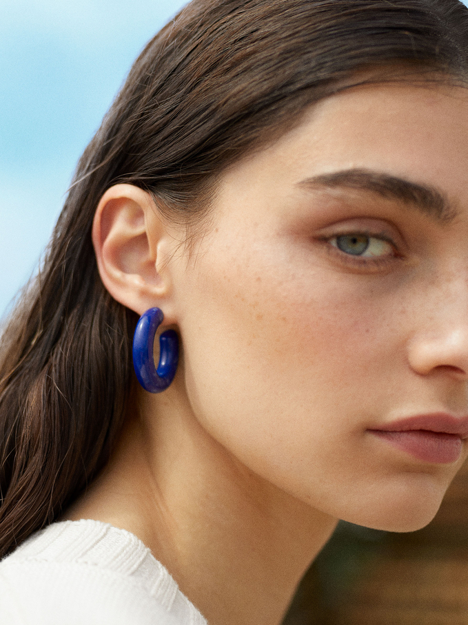 Resin Hoop Earrings, Blue, hi-res