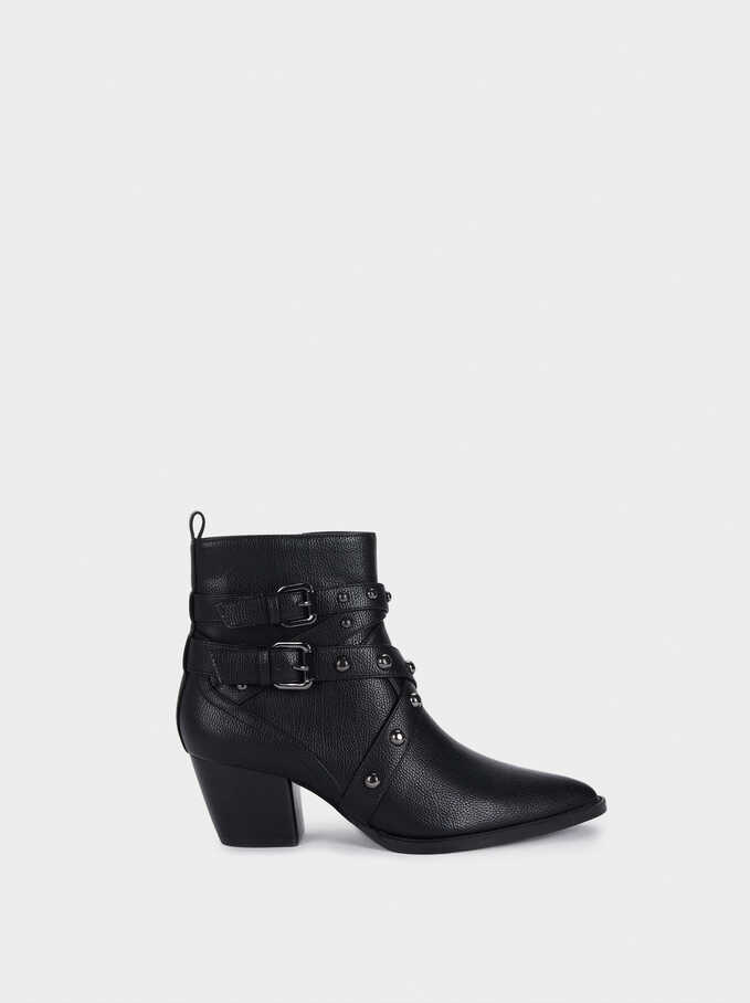 Heeled Ankle Boots With Studs And Buckles, Black, hi-res