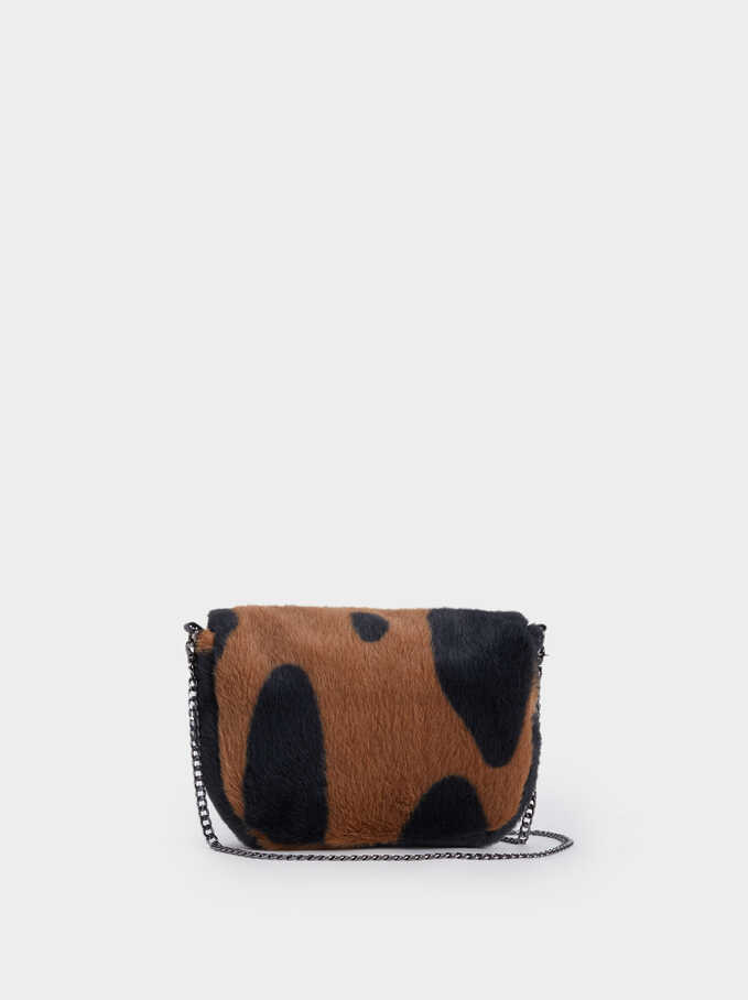 Fur Crossbody Bag, Brown, hi-res