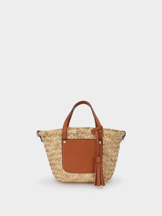 Borsa Shopper Texture Rafia, Camel, hi-res