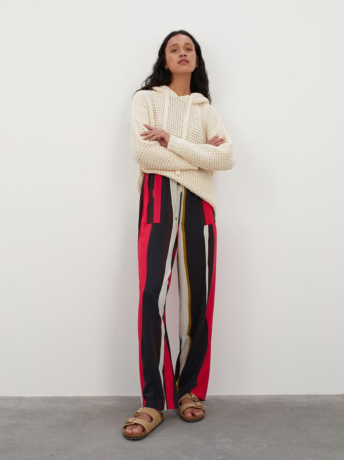 Pantaloni Stampati Con Tasche, Rosa, hi-res