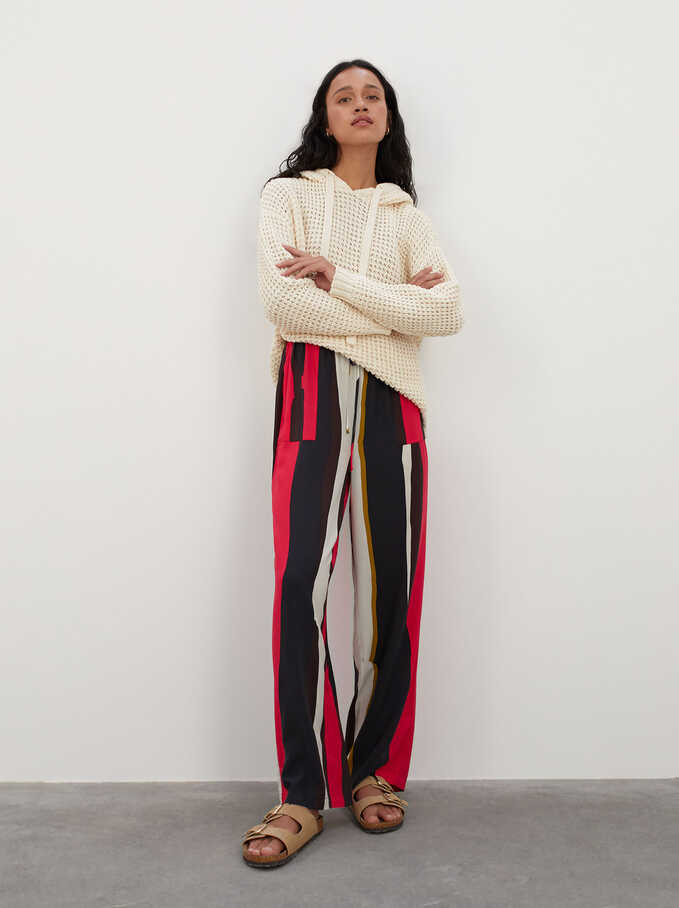 Printed Trousers With Pockets, Pink, hi-res