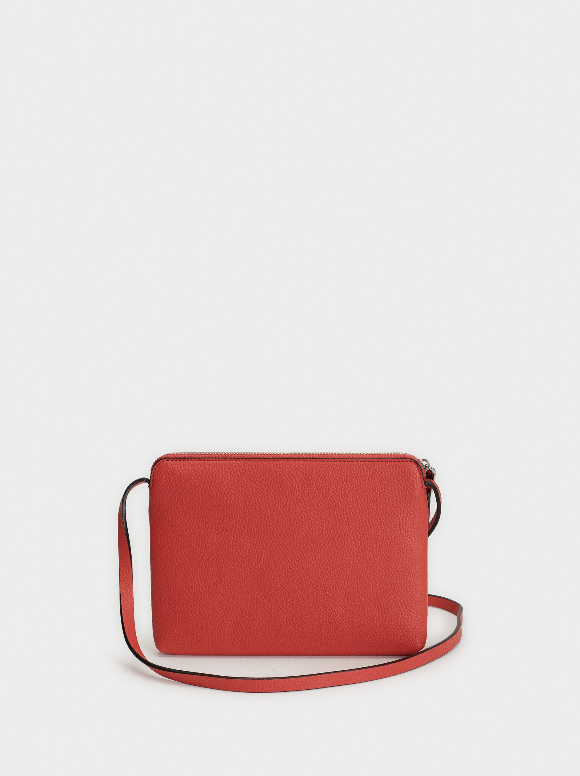 Shoulder Bag With Outer Pocket, Coral, hi-res