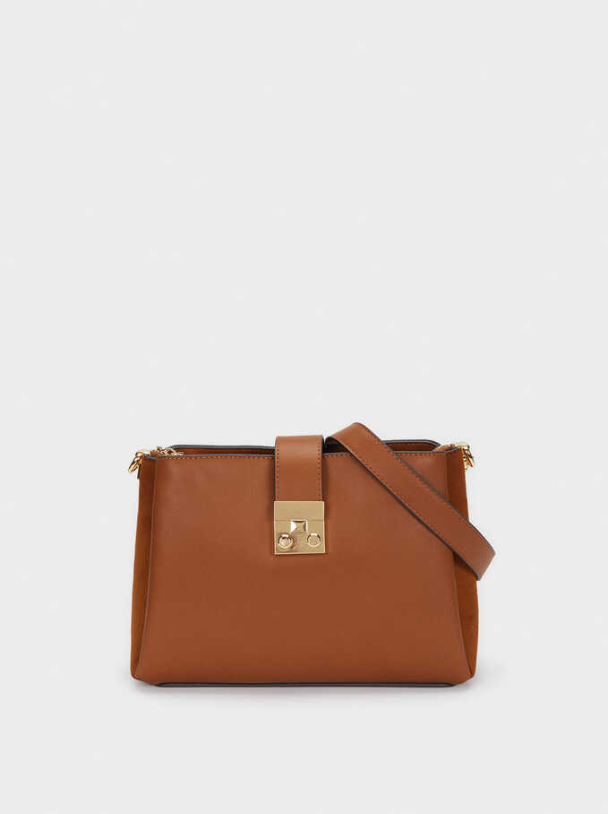 Faux Suede Crossbody Bag With Contrast Strap, Camel, hi-res