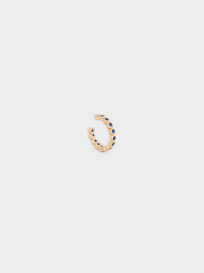 Small Multi-Coloured Crystal Earcuff, Golden, hi-res
