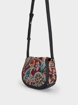 Paisley Print Shoulder Bag, Black, hi-res