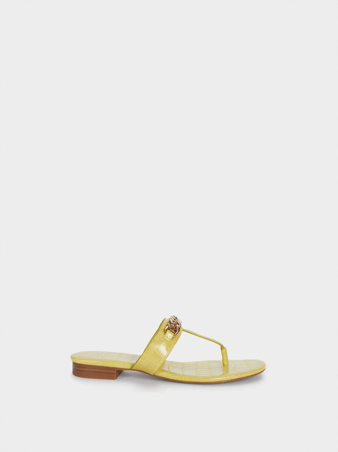 Animal Print Flat Sandals With Chain, Yellow, hi-res
