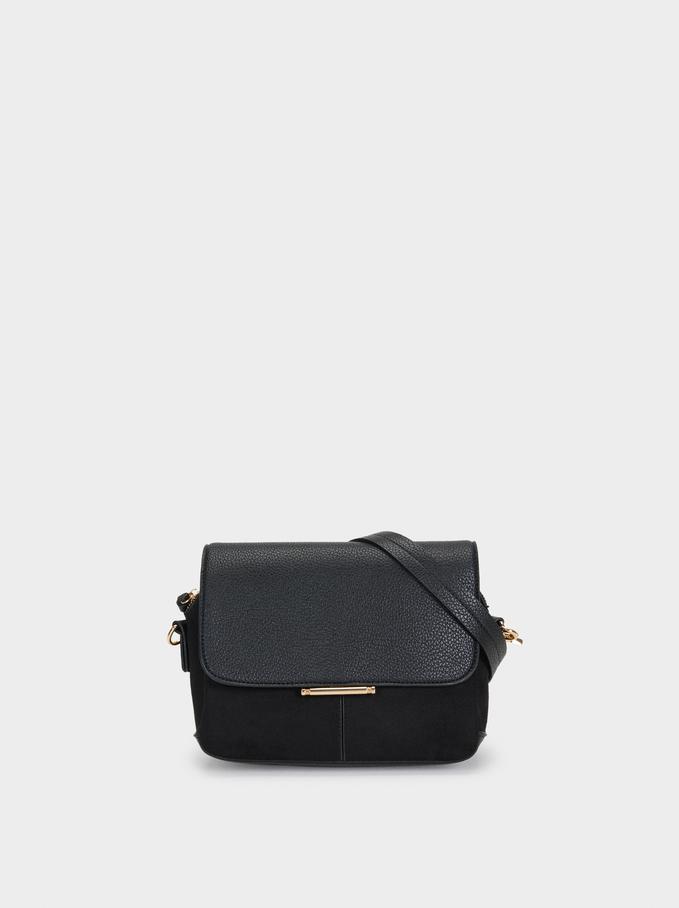 Shoulder Bag With Metal Detail, Black, hi-res