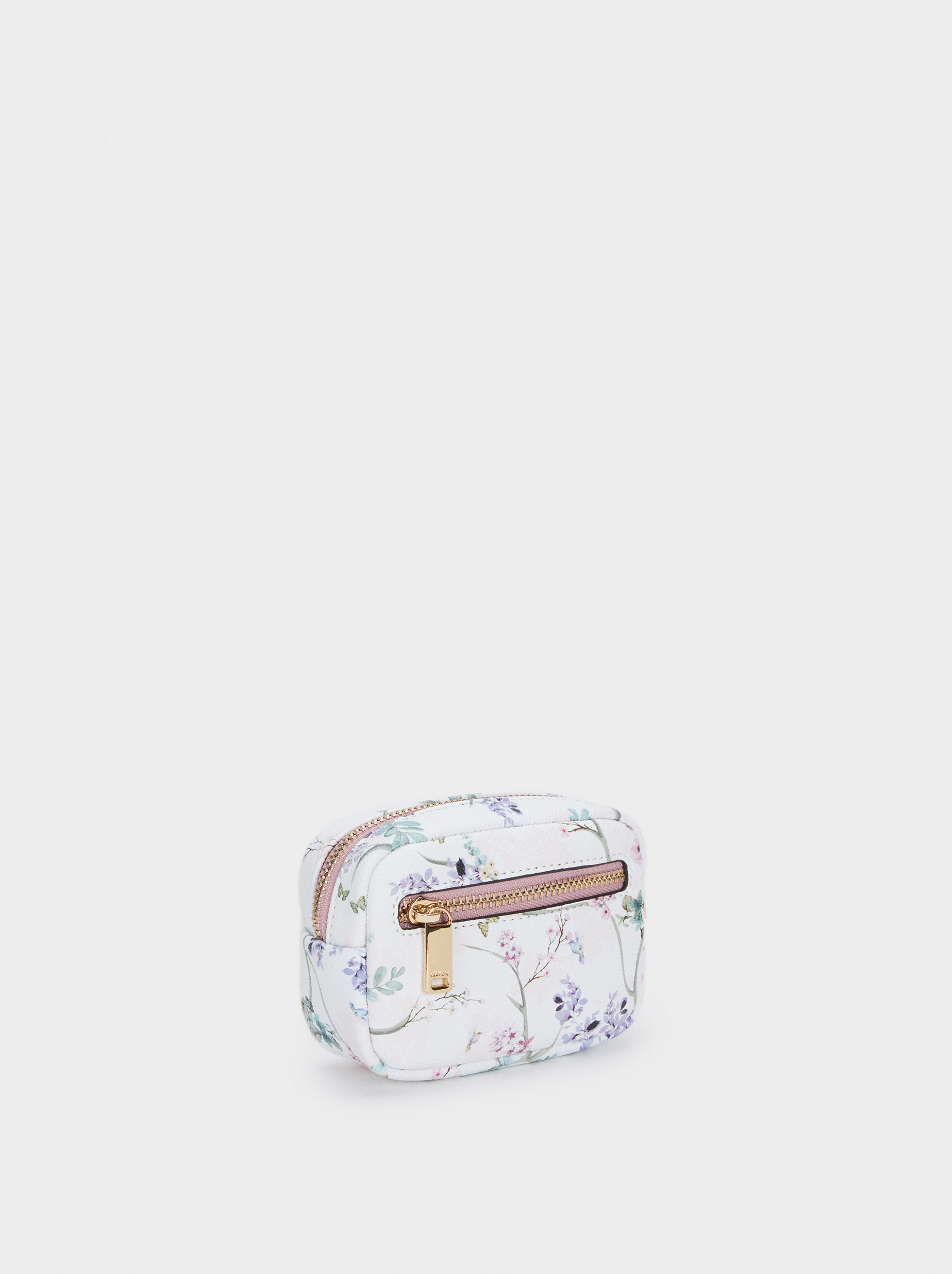 Floral Print Purse With Zip, Violet, hi-res