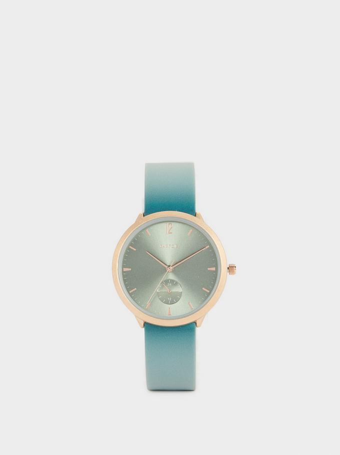 Montre-Bracelet En Silicone Avec Cadran Rond, Vert, hi-res