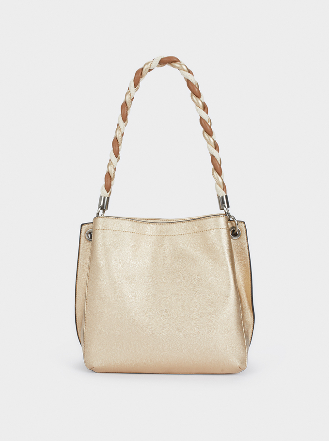 Handbag With Braided Handle, Golden, hi-res