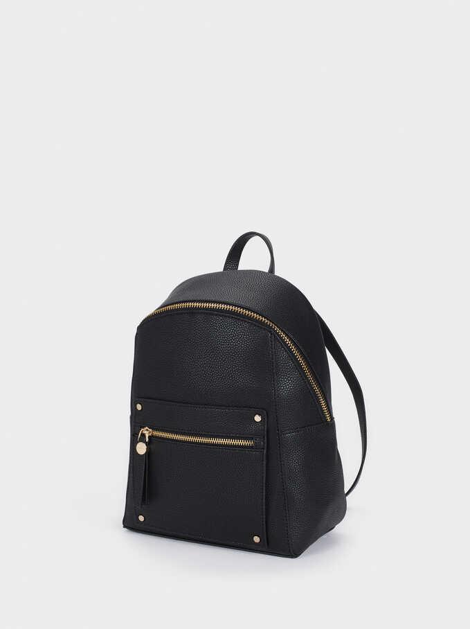 Backpack With Outside Pocket, Black, hi-res