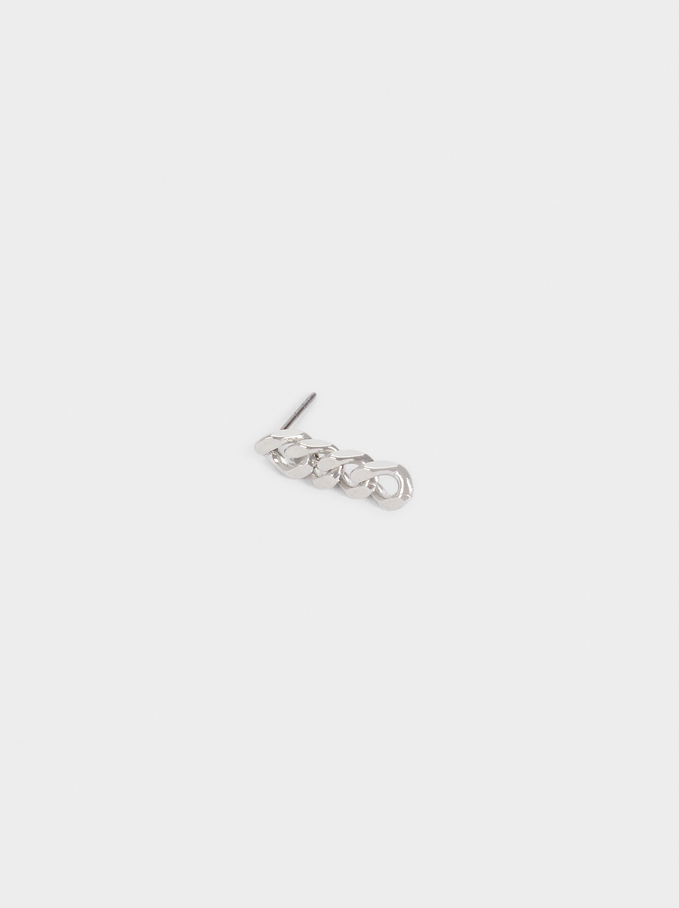Short Silver Earrings With Links, Silver, hi-res