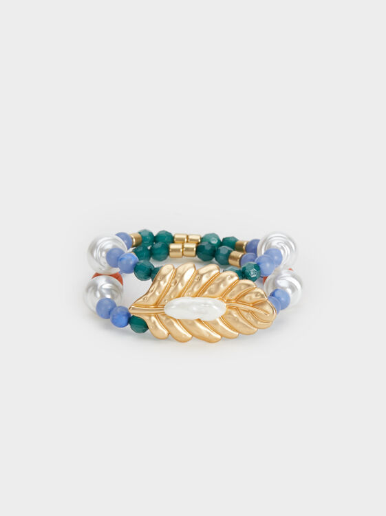 Zorba Elasticated Bracelet With Leaf, Multicolor, hi-res