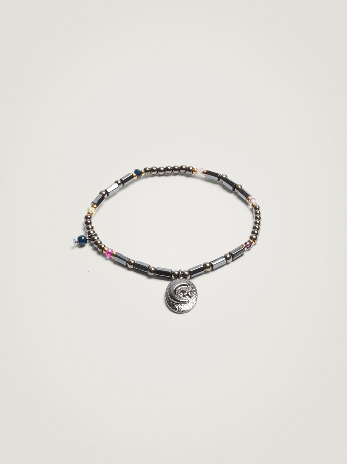Elastic Bracelet With Beads And Medallion, Multicolor, hi-res