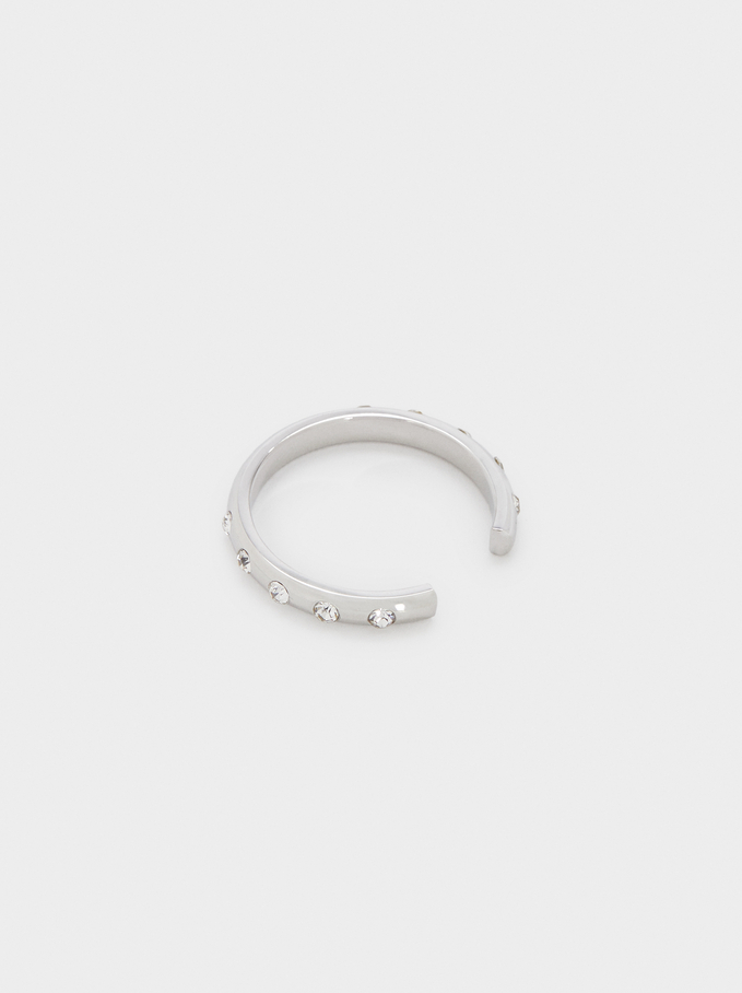 Stainless Steel Ring With Shiny Details, Silver, hi-res